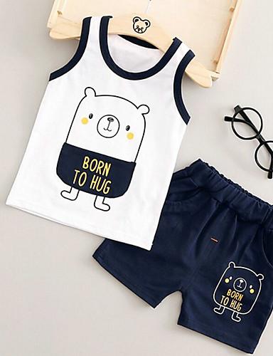 Baby Children's Outdoor Cartoon Clothing Set Summer Cartoon Blue