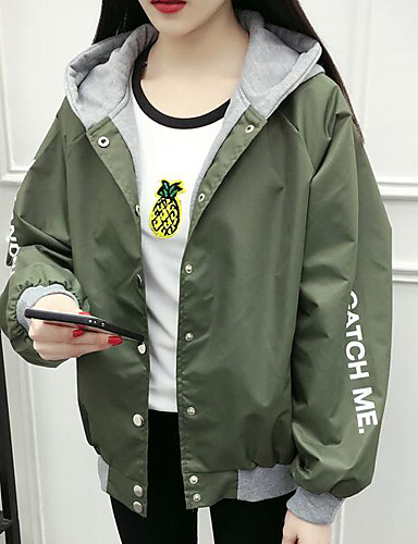 Women's Daily Modern/Contemporary Spring Jacket,Print Letter Hooded Long Sleeve Regular Others