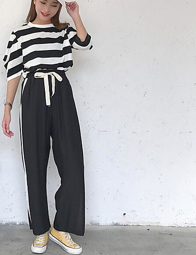 Women's Daily Modern/Contemporary Summer T-shirt Pant Suits,Print Stripe Round Neck ¾ Sleeve 100% Cotton