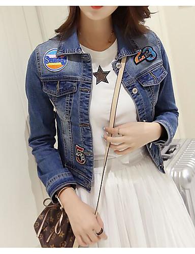Mulheres Curto Jaqueta jeans Diário Moderno/Contemporâneo Primavera Outono, Sólido Algodão Outros Colarinho de Camisa