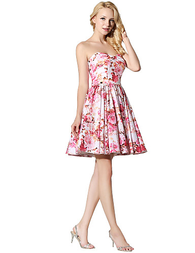 Princess Fit & Flare Sweetheart Short / Mini Satin Chiffon Cocktail Party Prom Dress with Pattern / Print by Sarahbridal