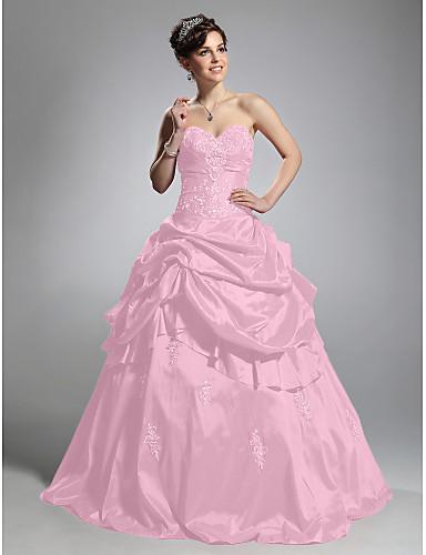 preiswerte Quinceanera Kleider-Ballkleid Sweetheart Boden-Länge Taft Formeller Abend Kleid mit Geraffter Rock durch TS Couture®