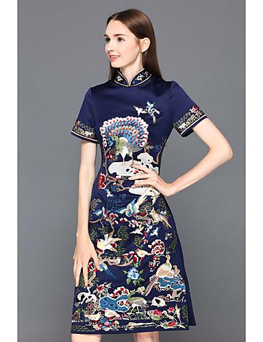 Mulheres Para Noite Vintage / Temática Asiática Seda Bainha Vestido - Bordado, Animal Colarinho Chinês Altura dos Joelhos / Verão / Floral