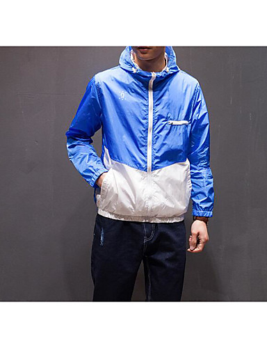 Men's Casual/Daily Simple Summer Jacket,Color Block Hooded Long Sleeve Regular Polyester
