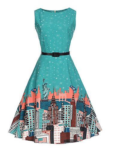 Mulheres Para Noite Vintage Algodão Evasê Vestido - Estampado, Geométrica Altura dos Joelhos