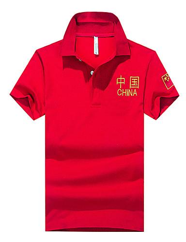 Homens Polo Temática Asiática Estilo Formal Clássico Estampado, Sólido Padrão Carta e Número Algodão Colarinho de Camisa
