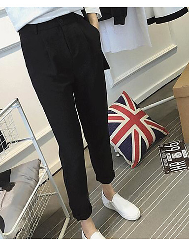 Women's Casual Skinny / Slim Pants - Solid Colored High Waist / Summer