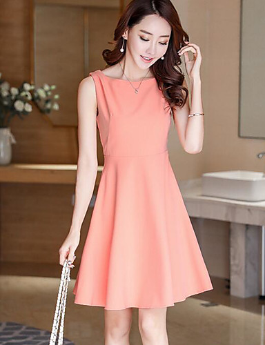 Women's Going out Cute A Line Dress,Solid Round Neck Above Knee Sleeveless Polyester Summer Mid Rise Inelastic Medium