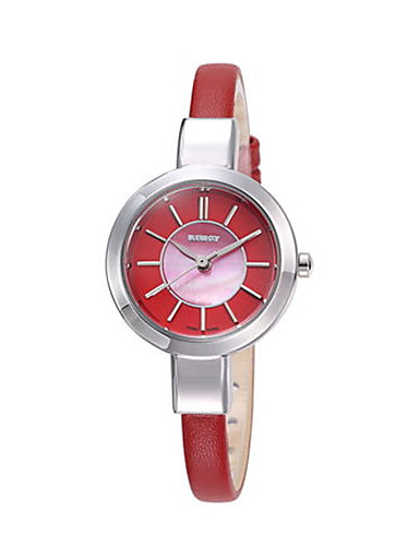Women's Fashion Watch Quartz Leather Band Black White Red Brown Beige
