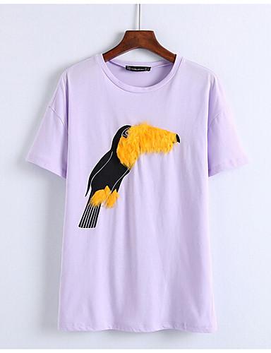 Naiset Lyhythihainen Pyöreä kaula-aukko Puuvilla Yksinkertainen Päivittäin T-paita,Painettu