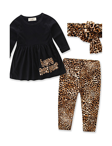 Girls' Animal Print Clothing Set,Cotton Spring Fall Long Sleeve Animal Print Dresswear Black