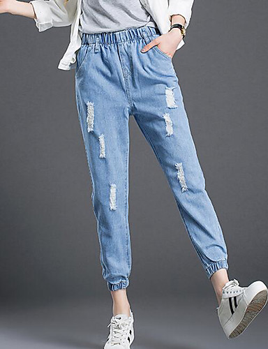 Women's Punk & Gothic Chinos Jeans Relaxed Pants - Solid Colored