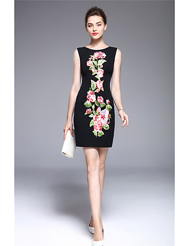 MARCOBOR Women's Party Vintage Street chic Sophisticated Sheath Dress,Embroidered Round Neck Above Knee Sleeveless Polyester Summer Mid Rise
