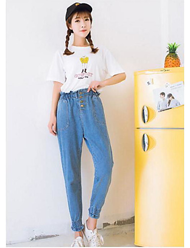Women's High Rise Micro-elastic Relaxed Overalls Pants,Cute Solid Denim Summer