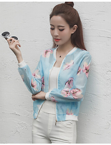 Women's Daily Casual Summer Jacket,Floral Round Neck Long Sleeve Short Polyester