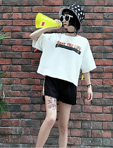 Naiset Lyhythihainen Pyöreä kaula-aukko Muu Vintage Bile T-paita,Color Block Kirjain