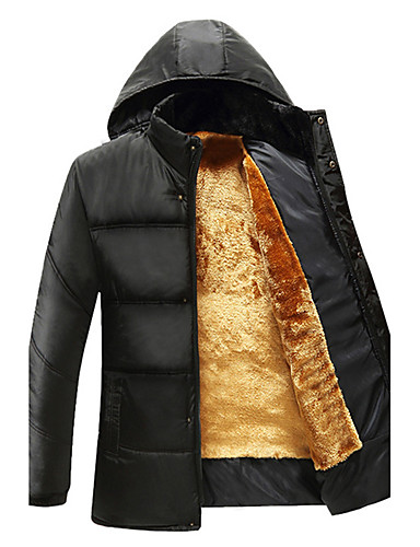 Men's Padded Coat,Casual Daily Plus Size Solid-Nylon Polyester Polypropylene Long Sleeves
