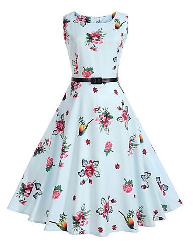 Women's Vintage Street chic Sheath Dress - Floral High Rise