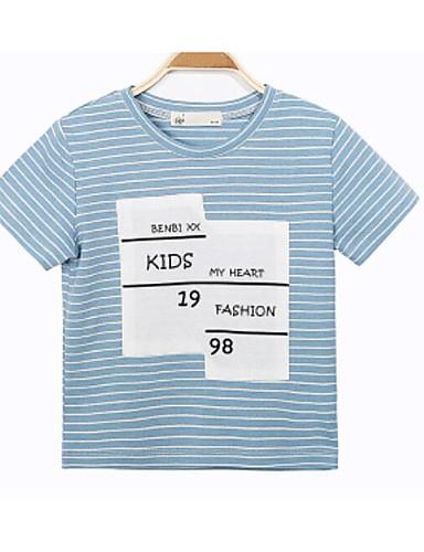 Gutt T-skjorte Stripe Bomull Sommer Kortermet Normal