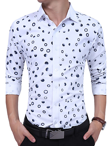 Men's Daily Work Plus Size Casual All Seasons Shirt,Polka Dot Color Block Shirt Collar Long Sleeves Cotton Rayon Thin