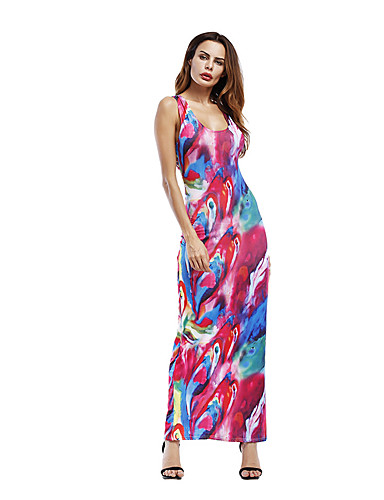Women's Beach Holiday Going out Vintage Sexy Sophisticated Sheath Dress,Print U Neck Maxi Sleeveless Polyester Summer High Rise