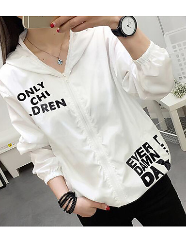 Women's Daily Patterned Spring/Fall Summer Trench Coat,Quotes & Sayings Hooded Long Sleeve Short Silk