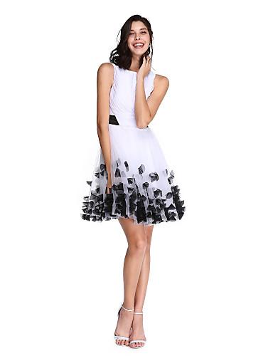 A-linje Båthals / Bateau Neck Knelang Chiffon / Tyll Cocktailfest / Skoleball Kjole med Sløyfe(r) / Belte / bånd / Kryssdrapering av TS Couture®