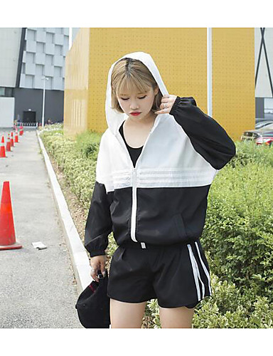 Women's Sport Daily Casual Casual Summer Hoodie Pant Suits,Solid Striped Hooded Long Sleeve Fiber Inelastic