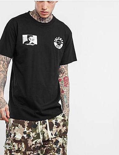 Bomull Medium Kortermet,Rund hals T-skjorte Ensfarget Geometrisk Trykt mønster Vår Sommer Sexy Enkel Aktiv Sport Ut på byen Fritid/hverdag