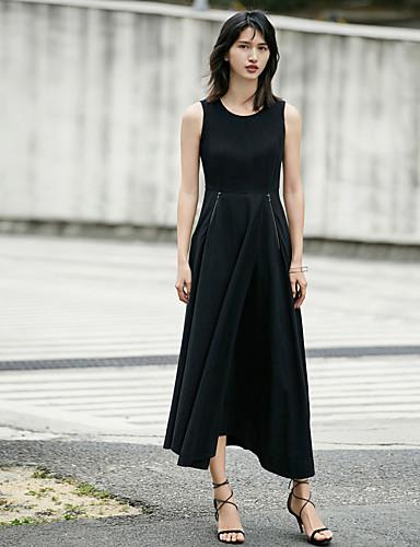 Feminino Bainha Vestidinho Preto Vestido,Casual Sólido Decote Redondo Longo Altura dos Joelhos Sem Manga Poliéster Verão Cintura Média