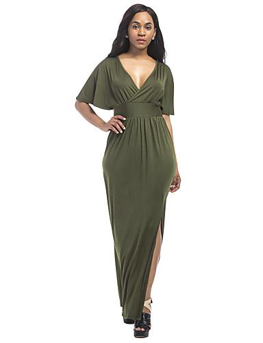 Women's Plus Size Sheath Dress - Solid Colored, Split High Rise Maxi Deep V