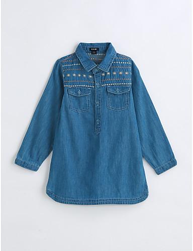 Girls' Shirt, Cotton Spring Fall Long Sleeves Blue