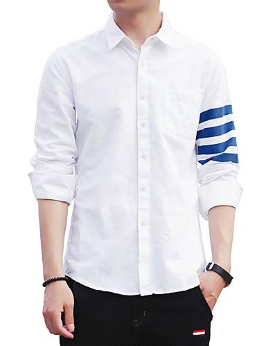 Bomull Skjorte Herre-Ensfarget Stripet Bokstaver Vintage Fritid Gatemote Klubb