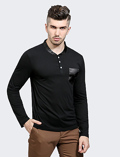 Men's Casual Cotton / Polyester T-shirt - Solid Colored / Long Sleeve