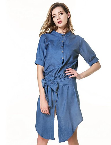 Women's Daily Sheath Dress,Solid Stand Knee-length Short Sleeves Polyester Summer Fall High Rise Inelastic Opaque