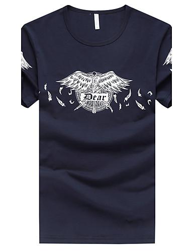 Men's Fashion Slim Plus Size Print Short Sleeve T-Shirt Cotton Spandex Medium/Plus Size Daily Casual