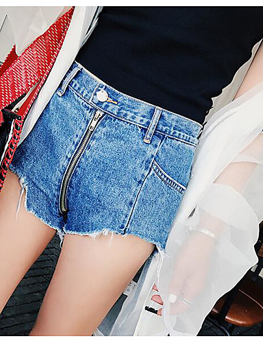 Women's High Rise Inelastic Shorts Pants,Simple Straight Ripped Solid