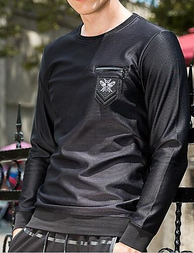 Men's Daily Casual Sweatshirt Solid Round Neck Micro-elastic Cotton Long Sleeve Spring