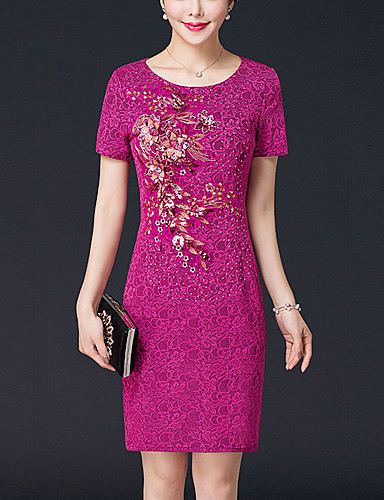 Women's Plus Size Sophisticated Bodycon Dress - Solid Colored Embroidered, Beaded