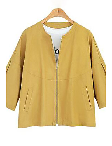Women's Daily Plus Size Simple Casual Fall Jacket,Solid Round Neck Long Sleeve Short Linen