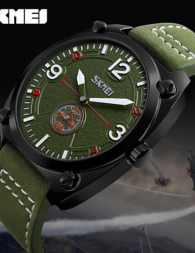 Homens Quartzo Relógio de Pulso Relógio inteligente Relógio Esportivo Chinês Calendário LED Mostrador Grande Couro Legitimo Banda Amuleto