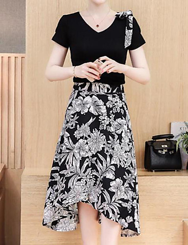 Women's Office / Career Daily Casual Skirts Nature Inspired Sexy Chic & Modern Spring Summer T-shirt Skirt Suits,Floral Print Textured