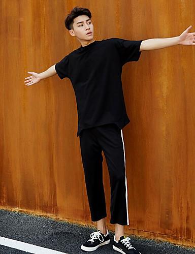 Men's Mid Rise Micro-elastic Wide Leg Pants,Simple Wide Leg Striped