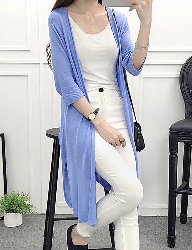 Women's Daily Long Cardigan,Solid Cowl Neck Long Sleeves Cotton Summer Thin Micro-elastic