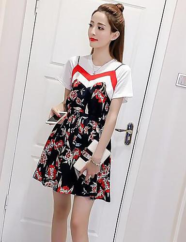 Dame Chic & Moderne T-skjorte Kjoler - Trykt mønster / Sommer