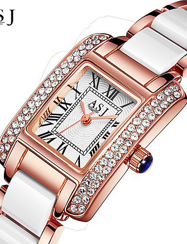 ASJ Women's Luxury Watches Wrist Watch Diamond Watch Japanese Quartz Ceramic Silver / Rose Gold 30 m Water Resistant / Waterproof Creative Analog Ladies Sparkle - Silver Rose Gold One Year Battery