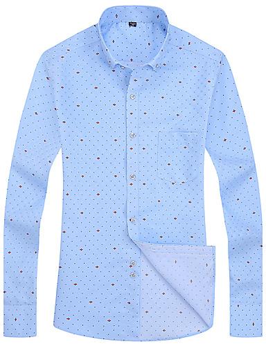 Herren Schachbrett Chinoiserie Lässig/Alltäglich Hemd,Klassischer Kragen Langarm Baumwolle