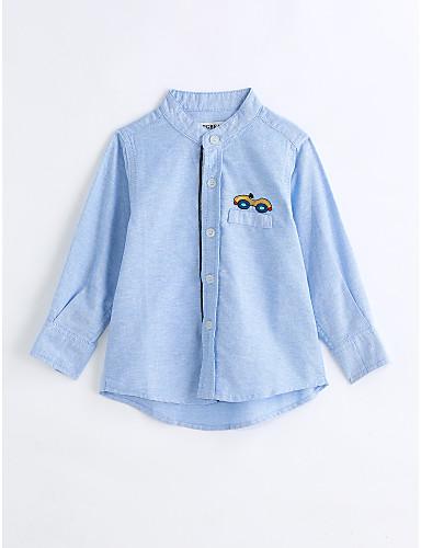 Boys' Solid Shirt, Cotton Spring Fall Long Sleeves Light Blue