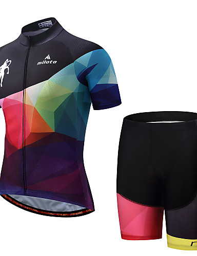 cheap Cycling Clothing-Miloto Men's Short Sleeve Cycling Jersey with Shorts Black / Pink Bike Padded Shorts / Chamois Clothing Suit Sports Polyester Spandex Geometry Mountain Bike MTB Road Bike Cycling Clothing Apparel