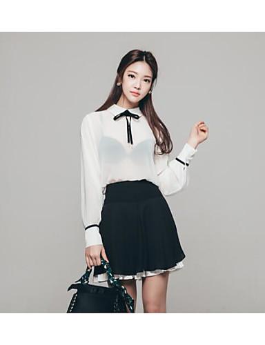 Mulheres Camiseta Vestidos Colarinho Chinês